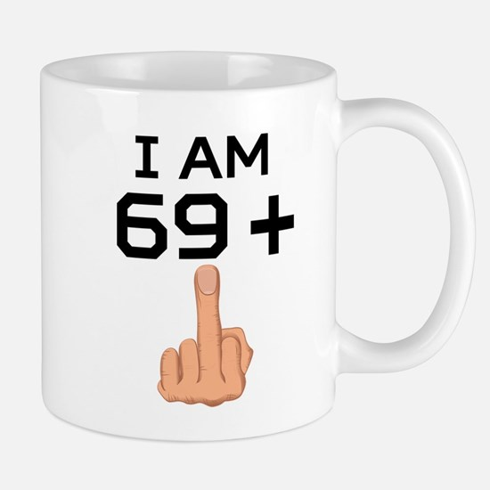 69 Plus Middle Finger 70th Birthday Mugs