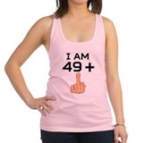 49 plus middle finger Womens Racerback Tanktop