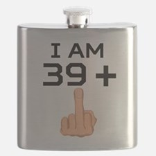 39 Plus Middle Finger 40th Birthday Flask