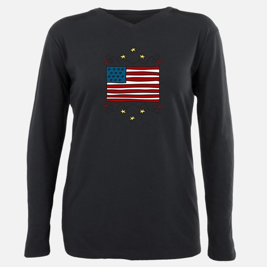 Funny Patriotic Plus Size Long Sleeve Tee