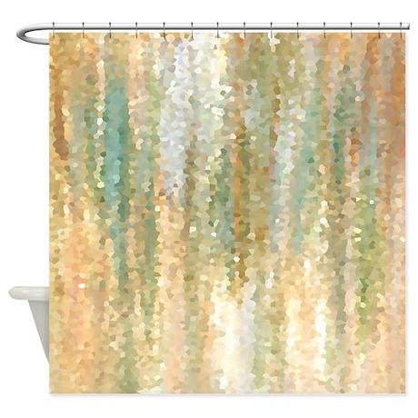 Design 30 Shower Curtain  Orange Shower Curtain