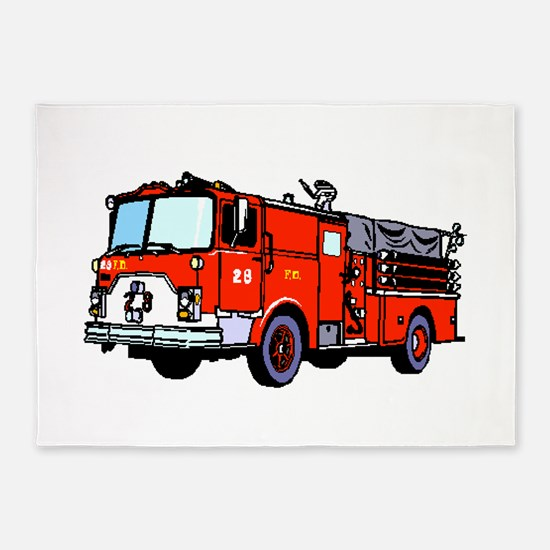 Fire Truck 5'x7'Area Rug