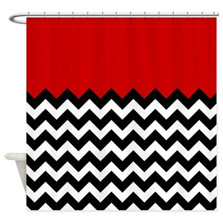 Red Black And White Chevron Shower Curtain By Admin CP2452714