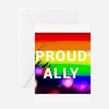 PROUD ALLY gay rainbow art Greeting Cards