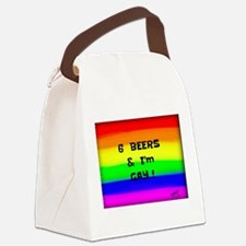 6 Beers & I'M GAY ! Rainbow art Canvas Lunch Bag