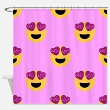 heart eyed emoji Shower Curtain