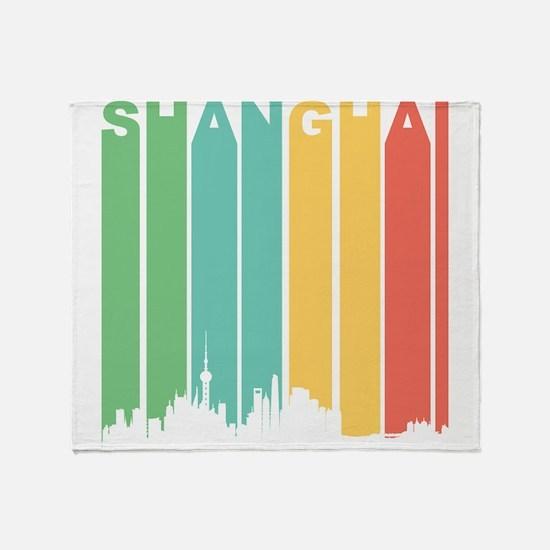 Retro Shanghai Cityscape Throw Blanket