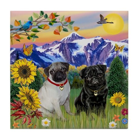 Mountain Country & Pug Pair Tile Coaster