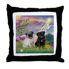 Cloud Angel & Pug Pair Throw Pillow