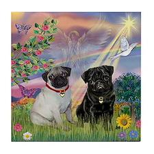 Cloud Angel & Pug Pair Tile Coaster
