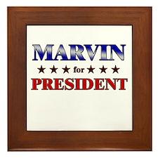 MARVIN for president Framed Tile