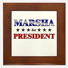 MARSHA for president Framed Tile