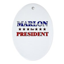 MARLON for president Oval Ornament