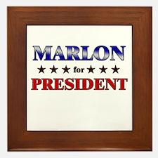 MARLON for president Framed Tile