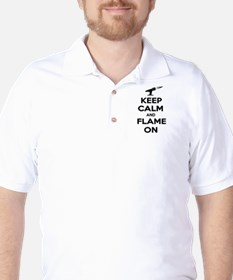 KeepCalmFlameOnBlk Golf Shirt