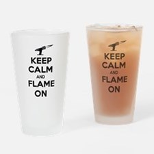 KeepCalmFlameOnBlk Drinking Glass