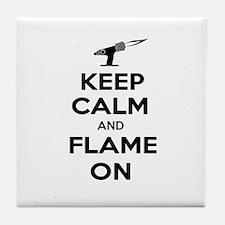 KeepCalmFlameOnBlk Tile Coaster