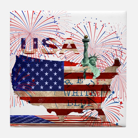 USA FIREWORKS STARS STRIPES LADY LIBE Tile Coaster