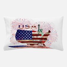 USA FIREWORKS STARS STRIPES LADY LIBER Pillow Case