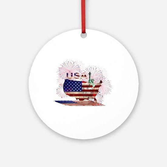 USA FIREWORKS STARS STRIPES LADY LI Round Ornament