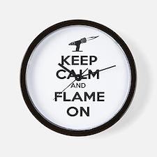 KeepCalmFlameOnBlk Wall Clock