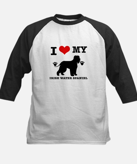 I Love My Irish Water Spaniel Kids Baseball Jersey