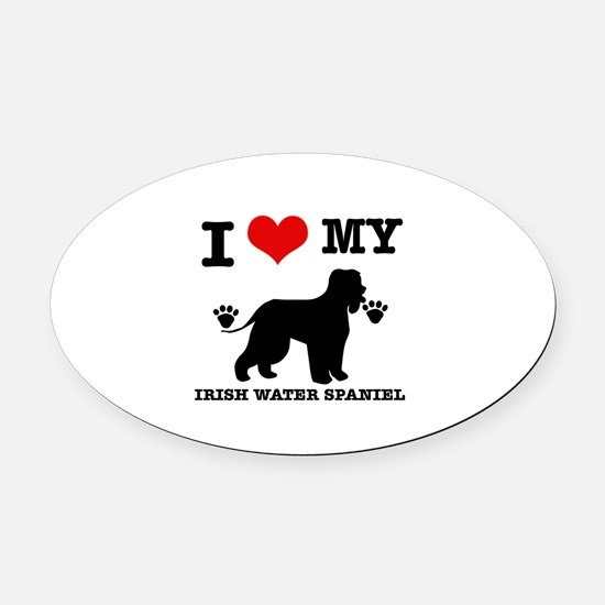 I Love My Irish Water Spaniel Oval Car Magnet