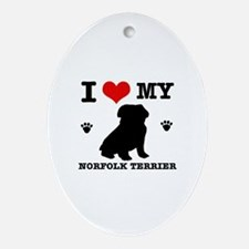 I Love My Norfolk Terrier Oval Ornament