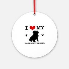 I Love My Norfolk Terrier Round Ornament