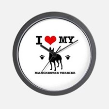I Love My Manchester Terrier Wall Clock