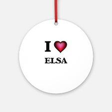 I Love Elsa Round Ornament