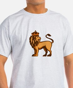 King Lion Crown Looking Side Retro T-Shirt