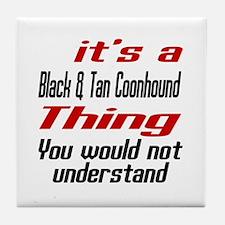Black & Tan Coonhound Thing Dog Desig Tile Coaster