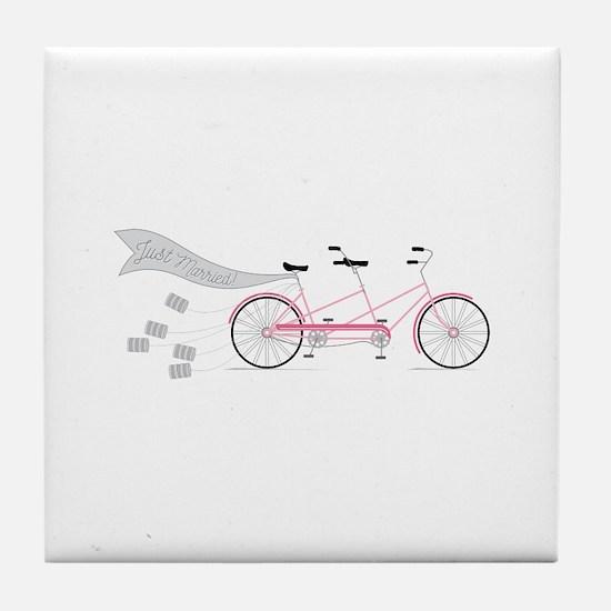 Just Married Bike Tile Coaster