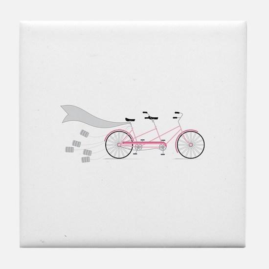 Wedding Tandem Bike Tile Coaster