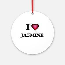I Love Jazmine Round Ornament