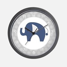 Navy Blue Elephant with Gray Wall Clock Wall Clock