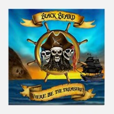 Blackbeard Where be the Treasure Tile Coaster
