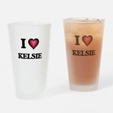 I Love Kelsie Drinking Glass