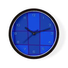 Blue Grid Wall Clock