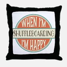 happy shuffleboarder Throw Pillow