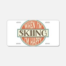 happy skier Aluminum License Plate