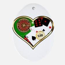 Love Gambling Oval Ornament