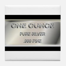 One Ounce Silver Ingot Tile Coaster