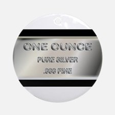 One Ounce Silver Ingot Round Ornament