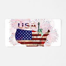 USA FIREWORKS STARS STRIPES Aluminum License Plate
