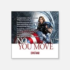 """Captain America No You Move Square Sticker 3"""" x 3"""""""
