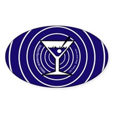 Blue Martini Rings Oval Decal