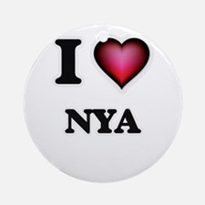 I Love Nya Round Ornament