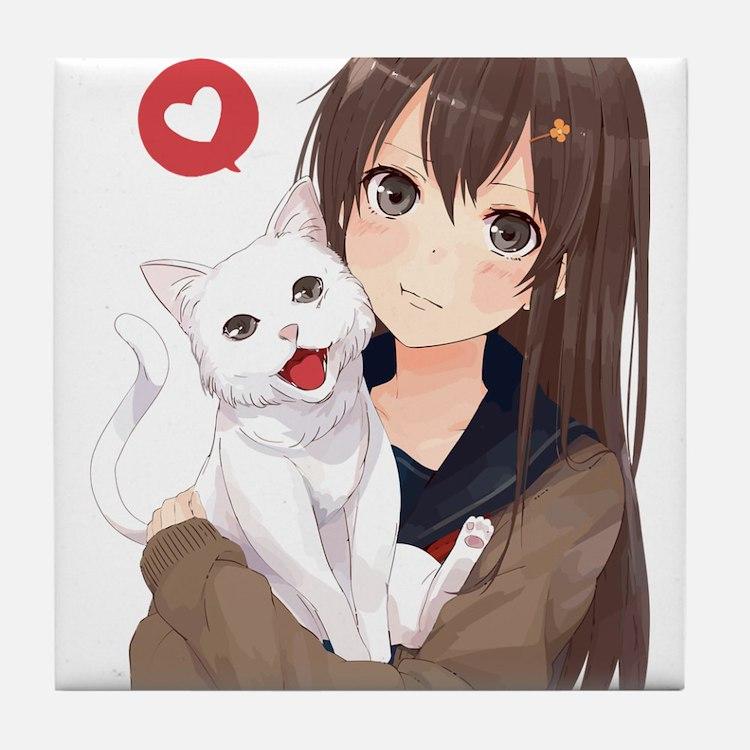 Anime Girl Holding Her Cat Tile Coaster